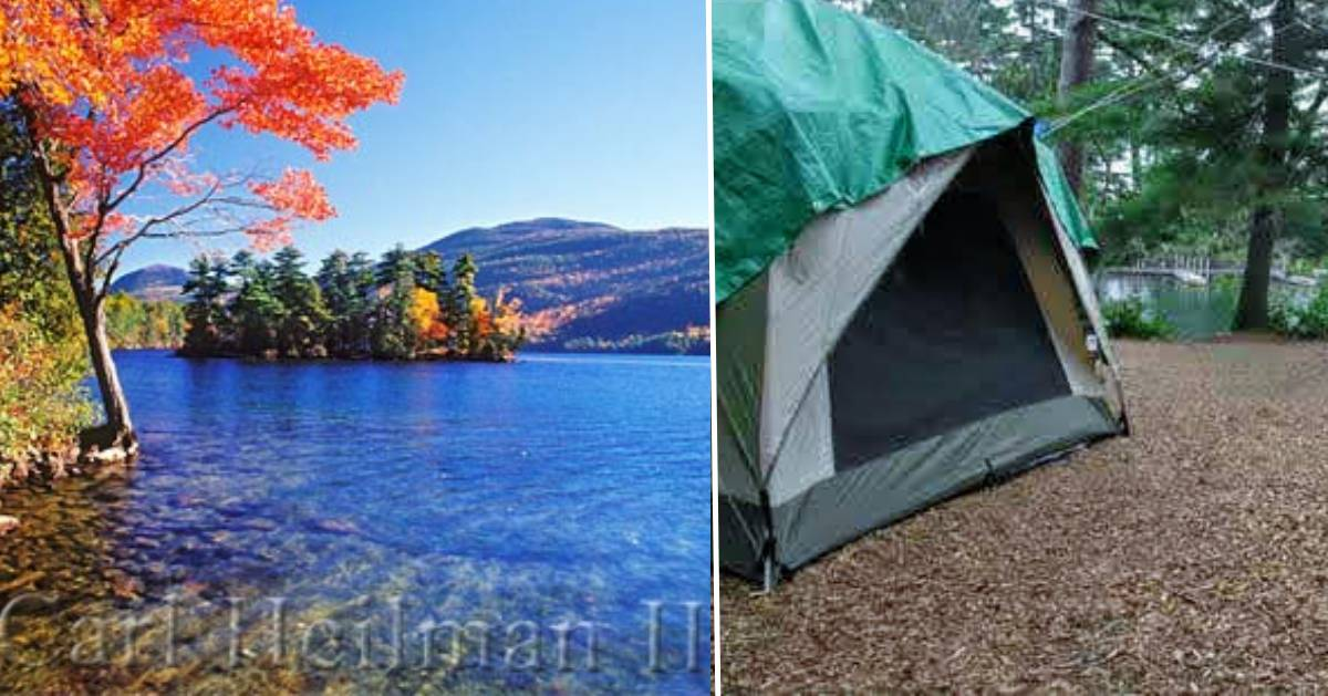 split image with fall foliage on the left and a camping tent on the right