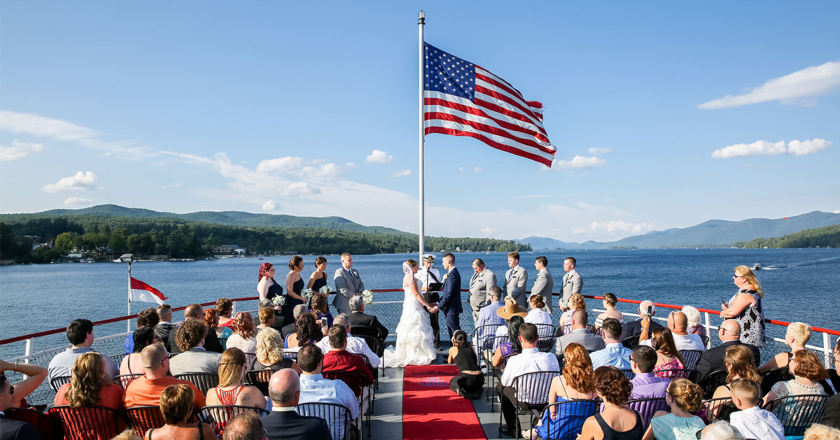 boat wedding on the lake