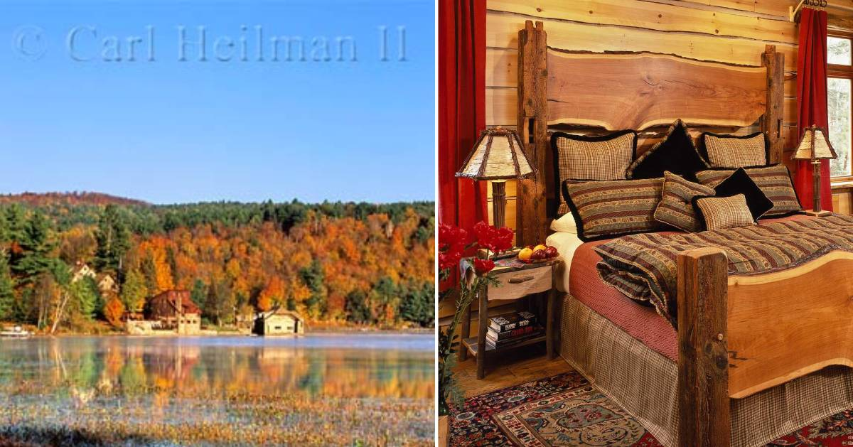 fall foliage on the left, bedroom on the right