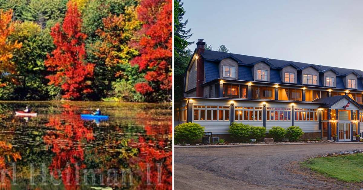 fall foliage on left, inn on the right