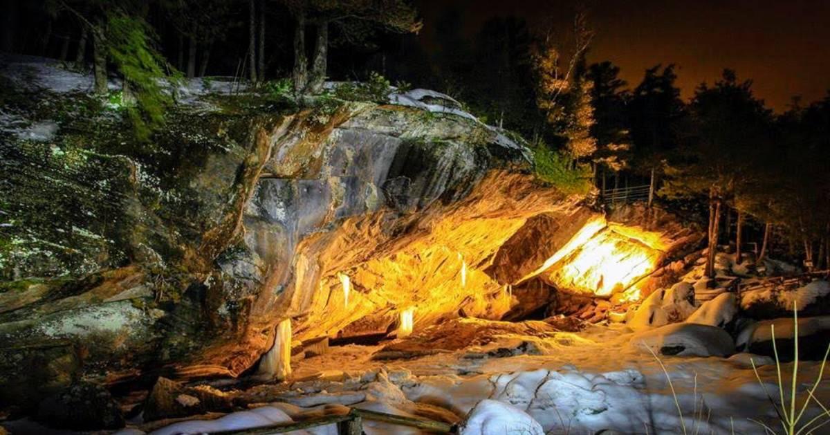 a cave at night