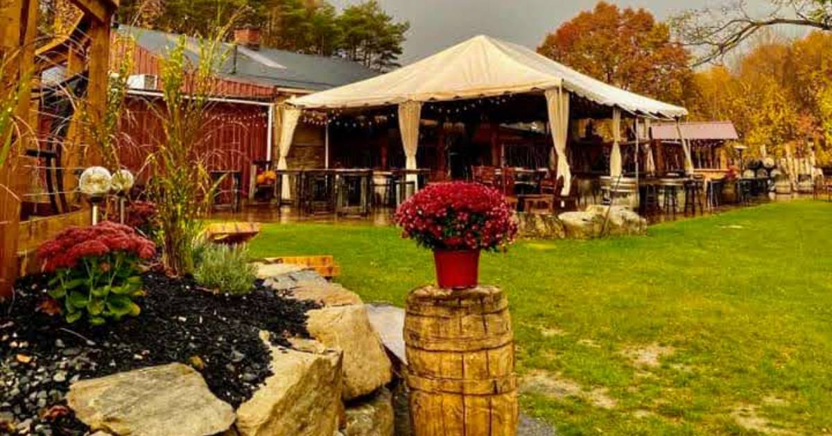 fall at a winery barn, open tent