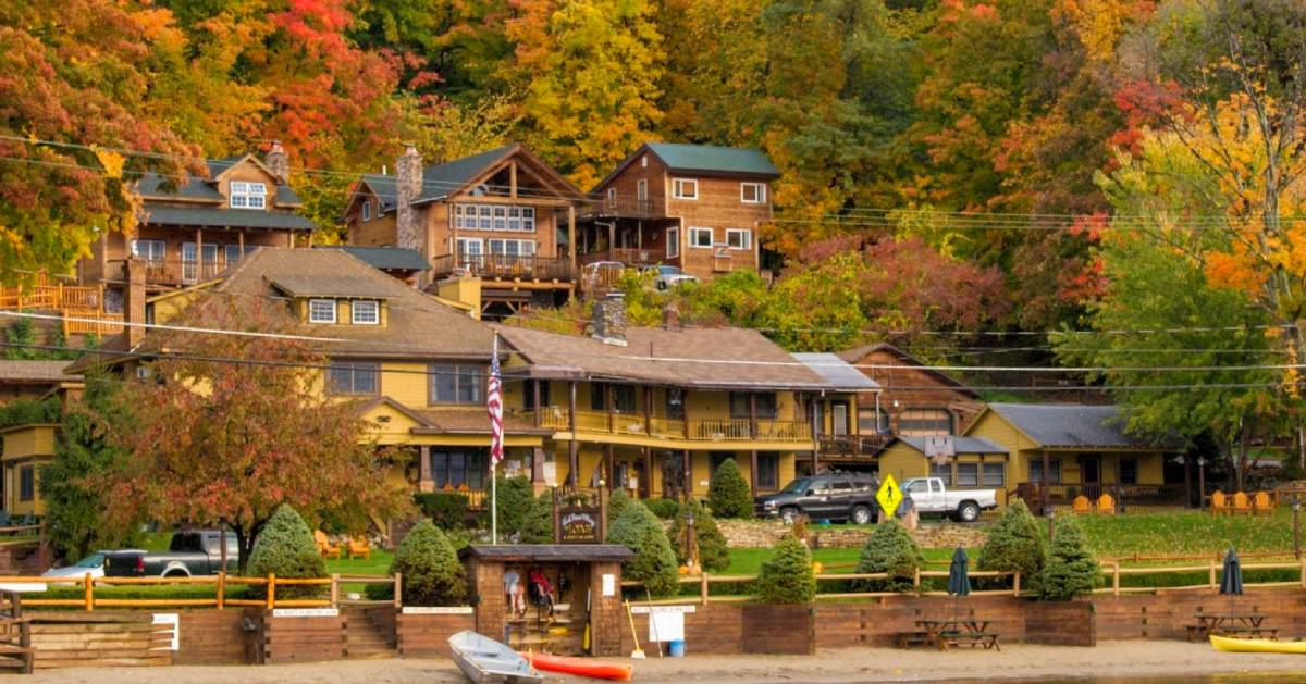 view of Trout House Village Resort in the fall from the water