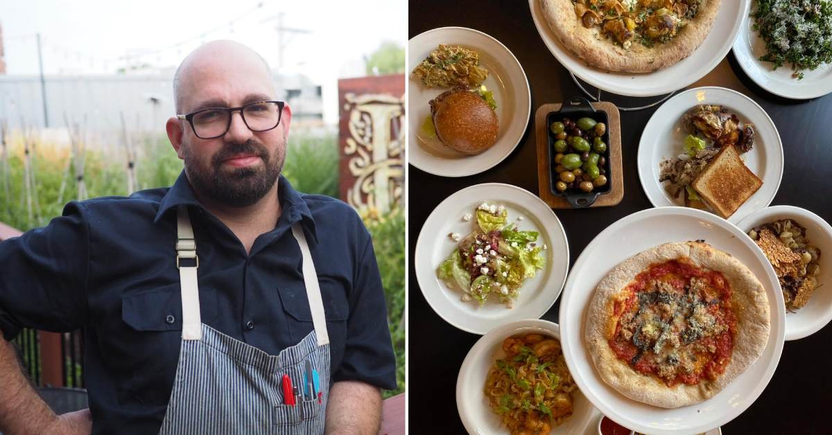 left image of man with glasses and apron and right image of plates of food