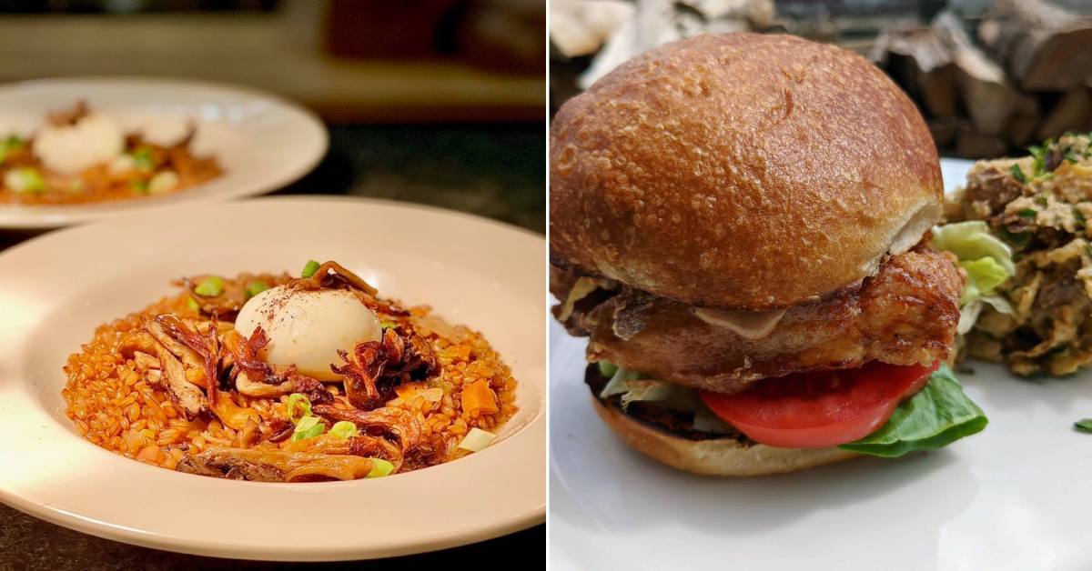 left image of food in white plates and right image of chicken sandwich