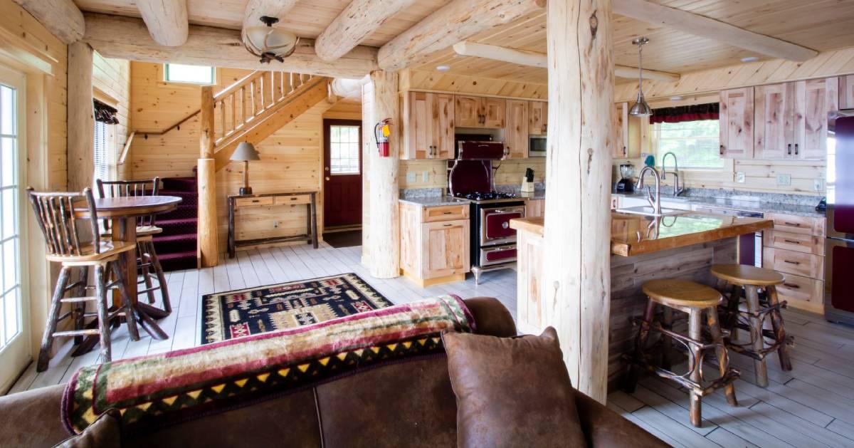 inside wooden cabin, nice furnishings