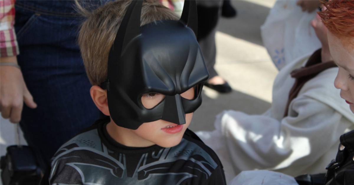 a kid dressed up as Batman