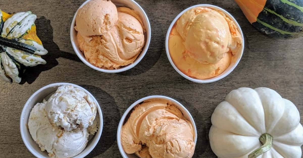 small squash and cups of ice cream
