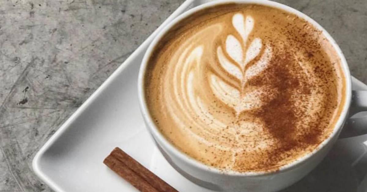pumpkin spice latte in a white mug