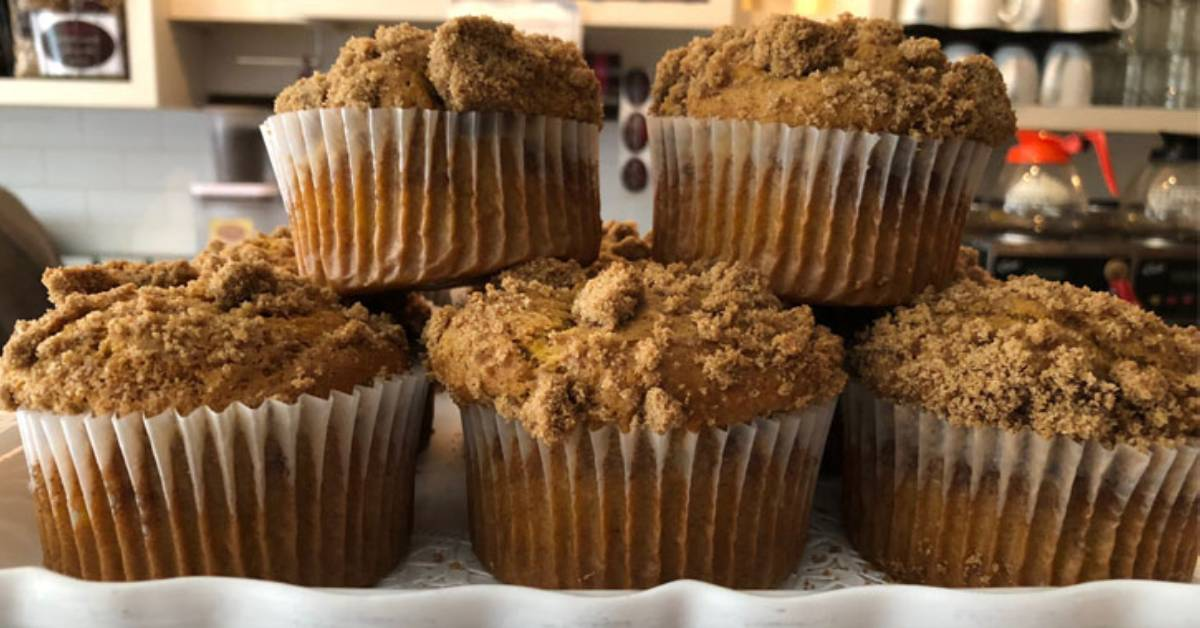 muffins on display in a bakery