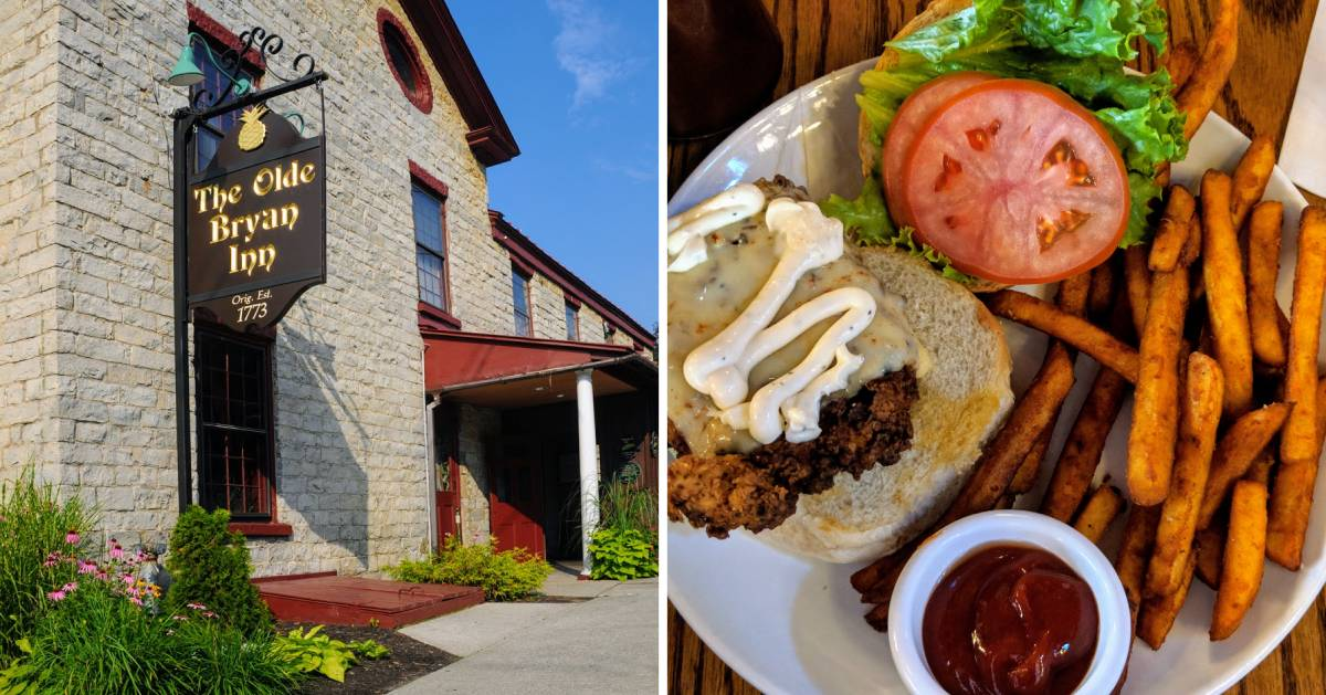 split image with outside of restaurant and plated meal