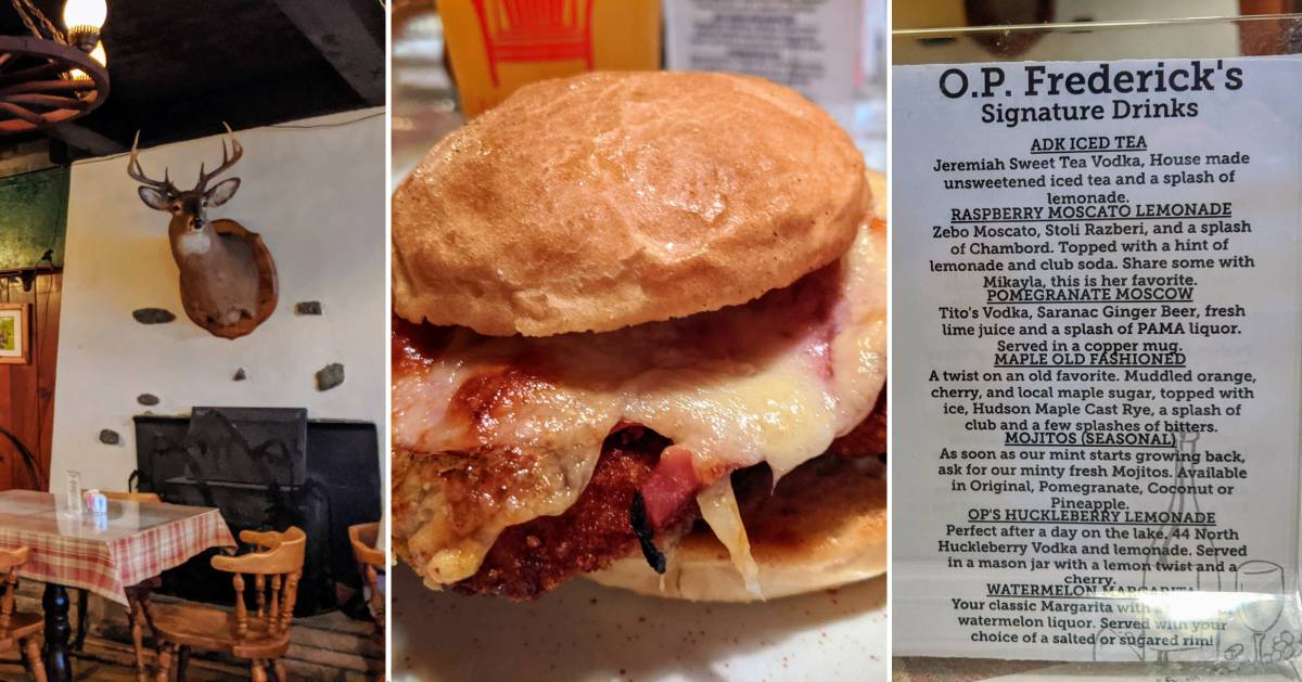 image split into three photos, one part of restaurant with deer head on wall, two a chicken parm burger, three a drinks menu
