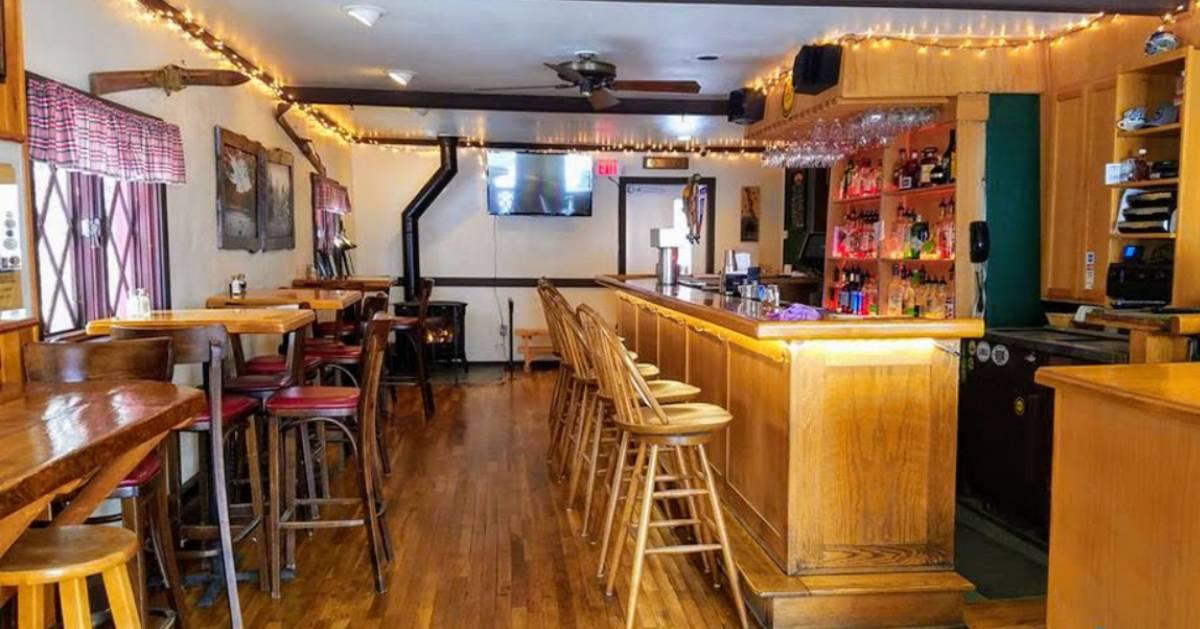 an Adirondack-style bar