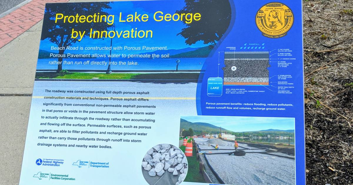 sign about protecting the waters of Lake George