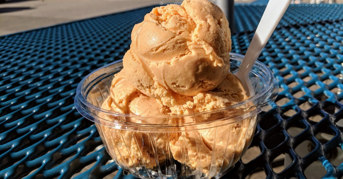 pumpkin ice cream in a dish