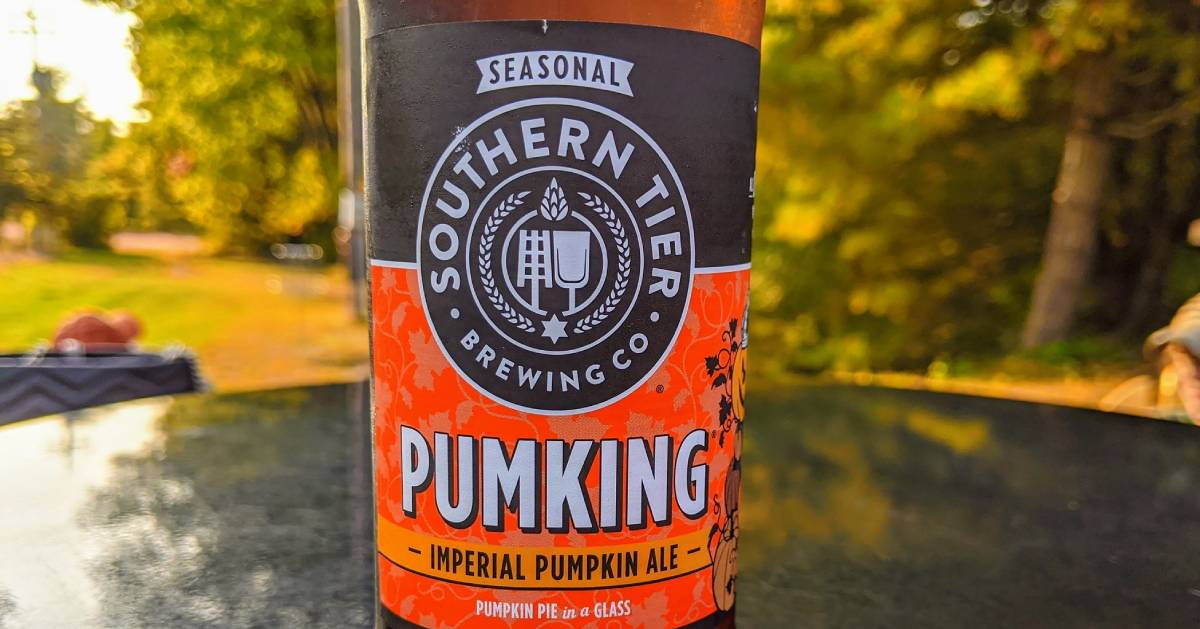 Pumpking beer on a table