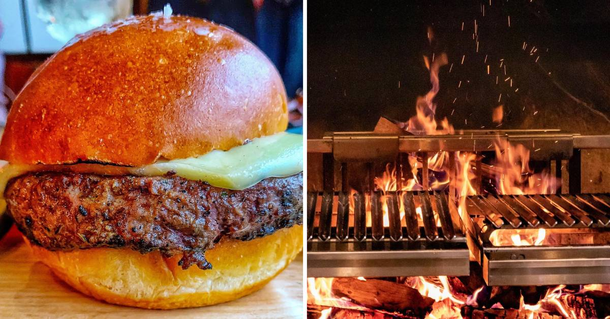 split image with burger on left and grill on the right