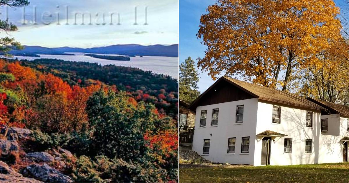 split image with fall foliage on the left and lodging on the right