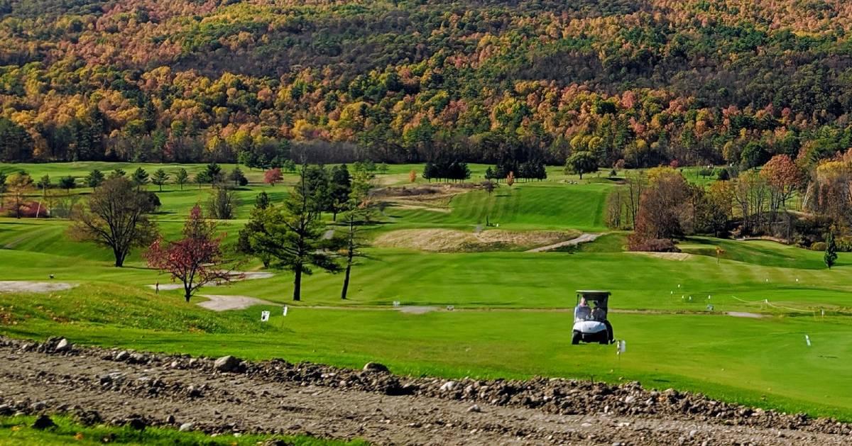 fall foliage on golf course