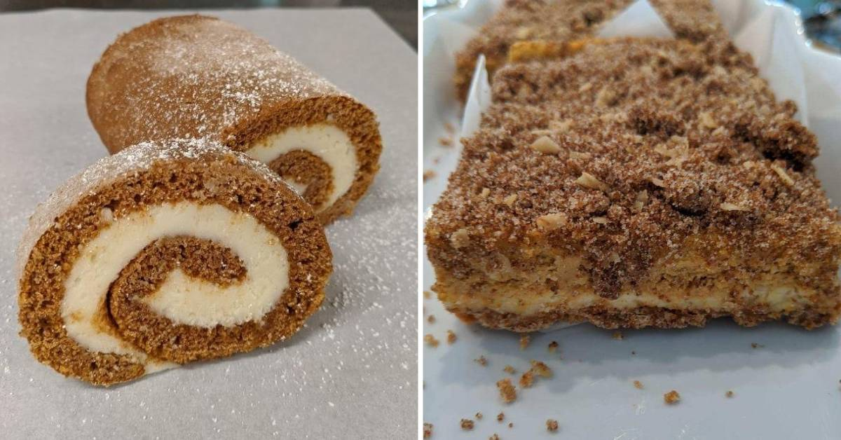 pumpkin roll and brownies in two photos