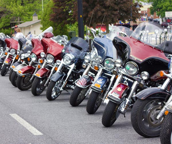Motorcycles lined up at Americade