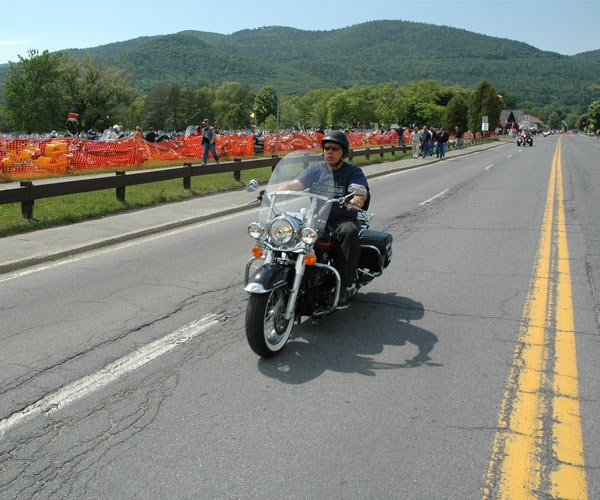 Motorcyle on Road in the Adirondacks