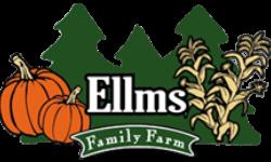 pumpkin and tree logo that reads ellms family farm