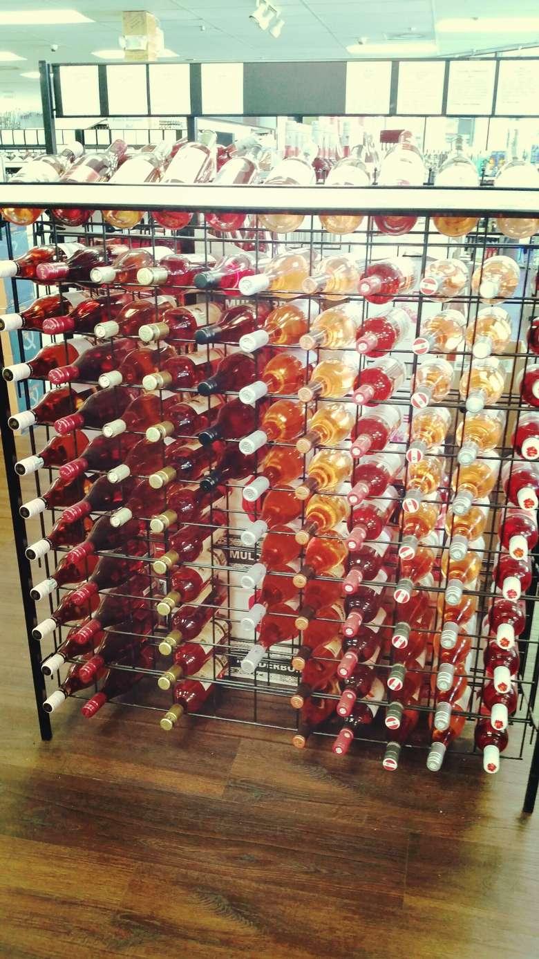 rack of wine in a liquor store