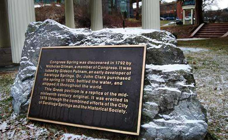 plaque commemorating the history of congress spring