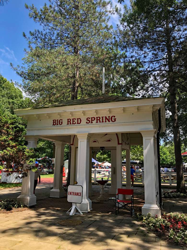 big red spring on a sunny day