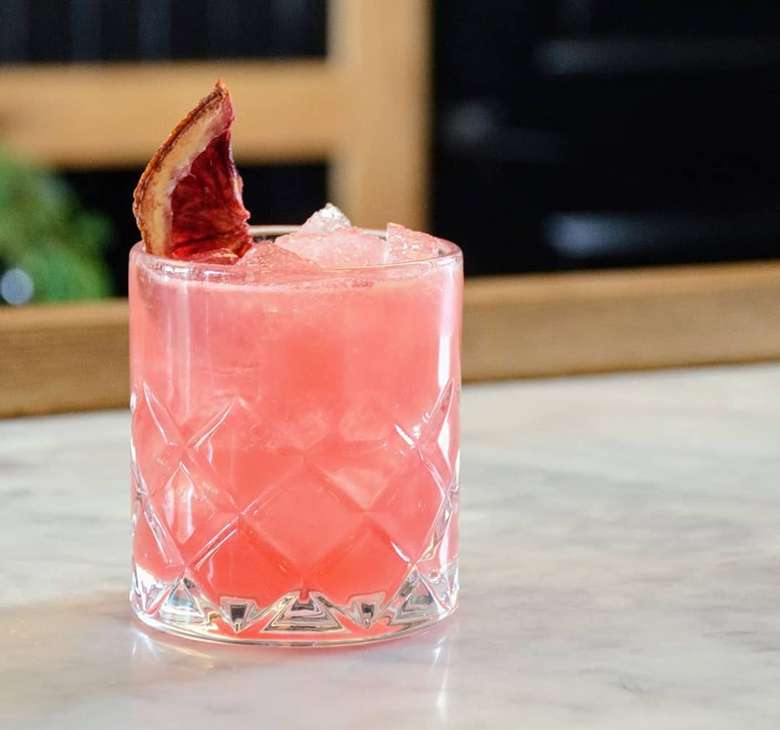 pink cocktail with blood orange