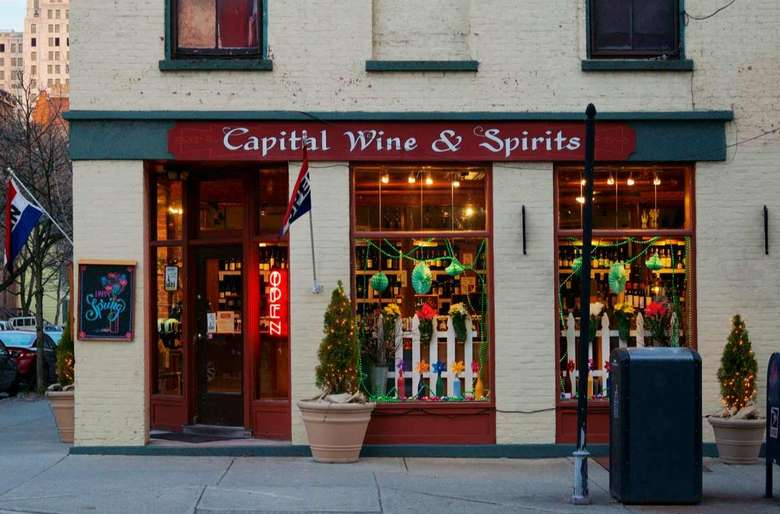 wine store with window decorated for St. Patrick's day