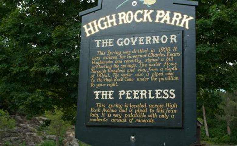 sign in high rock park describing governor and peerless springs