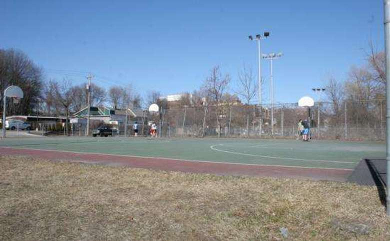 Basketball court by road