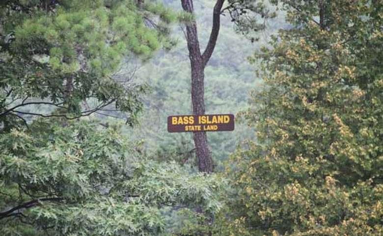 Sign marking Bass Island on Lake George