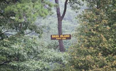 Sign marking Bass Island on Lake George