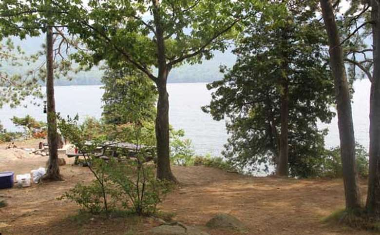 Looking inward on Bass Island from the tent platform