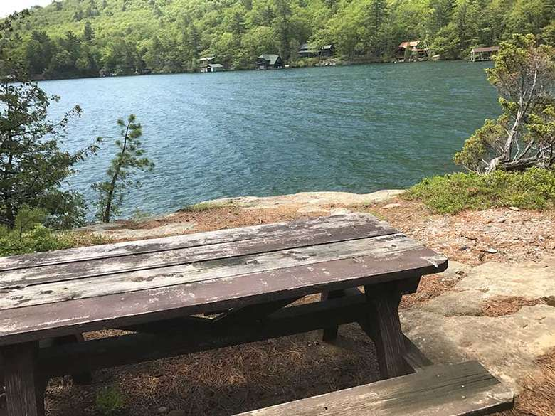 View from the picnic tables on Bass Island in Lake George
