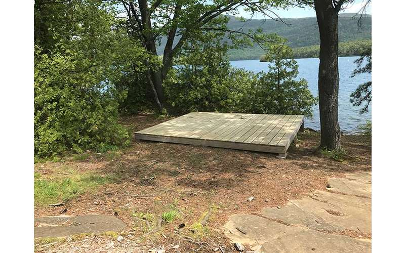 Tent Platform at Bass Island on Lake George