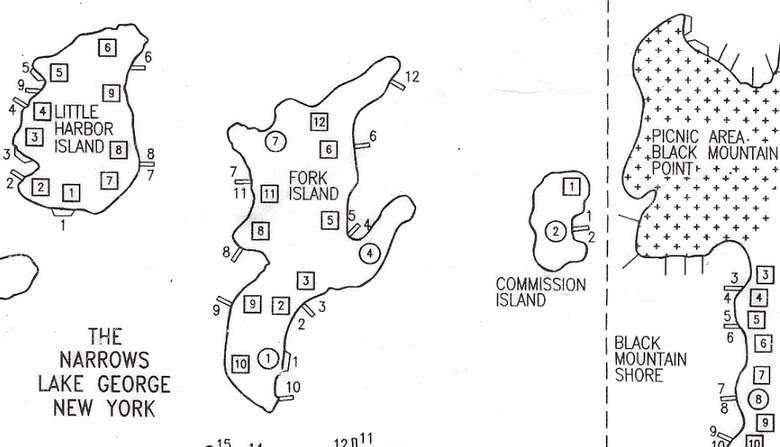 a map of various islands and their numbered campsites