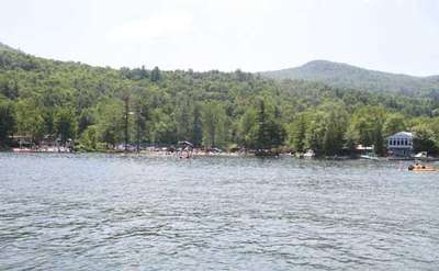 view of the Washington County Beach from the waters of Lake George