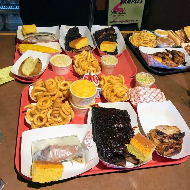 barbecue food on tray