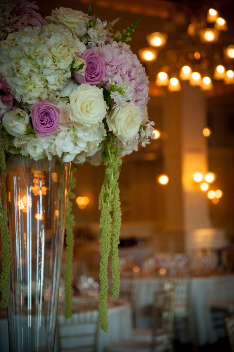 pink, white and green flowers as a centerpiece