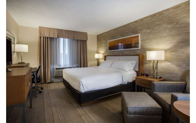 hotel room with a bed, workspace, and lounge chair