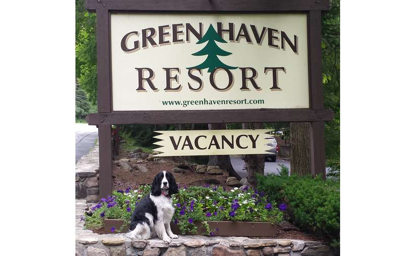Green Haven Resort with vacancy sign