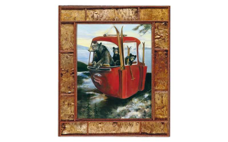 a painting of black bears inside a red gondola