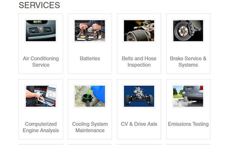 list of services offered including brakes, tires, mufflers, ac, and oil