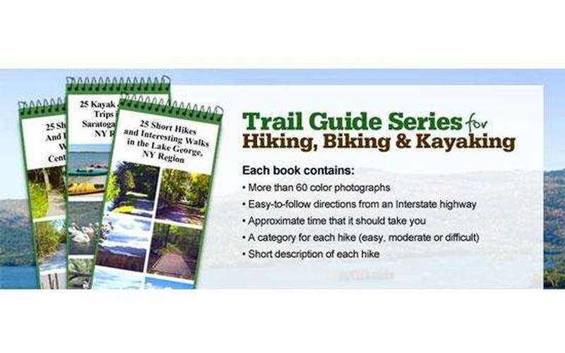 Image advertising a Trail Guide Series of booklets for hiking, biking, and kayaking