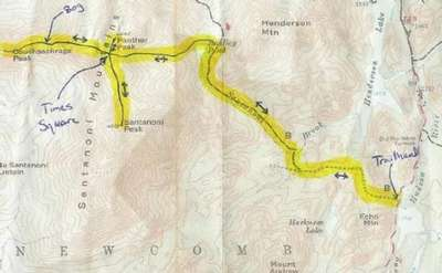 map showing the route from the trailhead to santanoni, panther, and couchsacharaga peaks