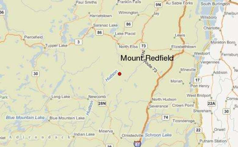 map showing mount redfield and other nearby landmarks
